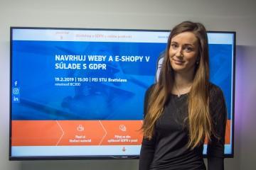 Natália Hučková spíkerkou workshopu o GDPR v online prostredí
